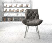 Stuhl Taimi-Flex 4-Fuß oval Edelstahl Vintage Grau [20896]