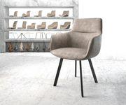 Stuhl Pejo-Flex 4-Fuß oval Schwarz Vintage Taupe [20910]