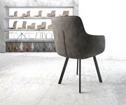 Stuhl Pejo-Flex 4-Fuß oval Schwarz Vintage Anthrazit [20911]