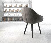 Armlehnstuhl Gaio-Flex 4-Fuß oval Schwarz Vintage Grau [20914]