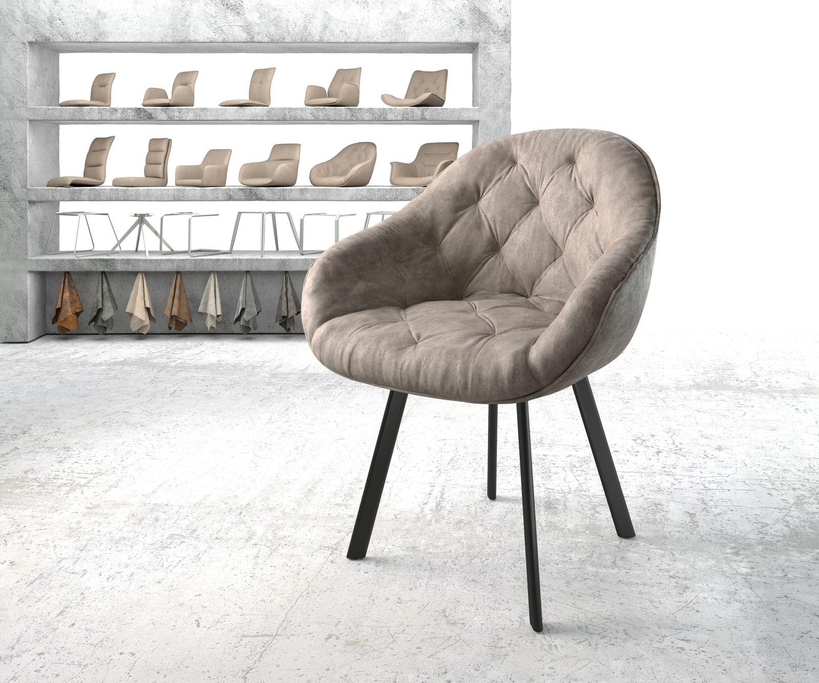 delife-armlehnstuhl-gaio-flex-taupe-vintage-4-fu-oval-schwarz-esszimmerstuhle