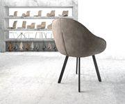 Armlehnstuhl Gaio-Flex 4-Fuß oval Schwarz Vintage Taupe [20916]