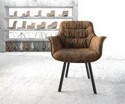 Armlehnstuhl Kaira-Flex 4-Fuß oval Schwarz Vintage Braun [20927]