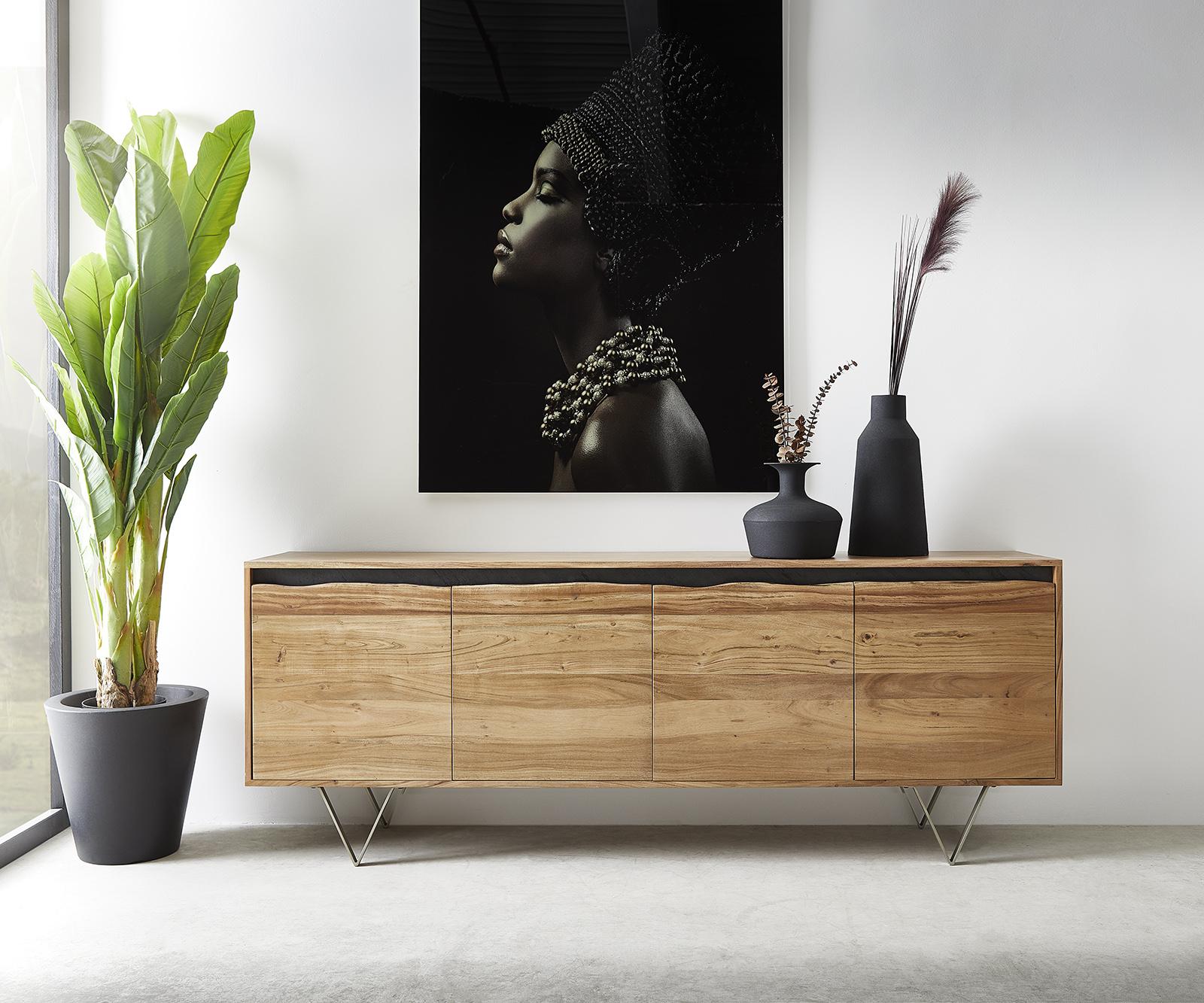 Sideboard Stonegrace 200x45 cm Akazie Natur 4 Türen Baumkante