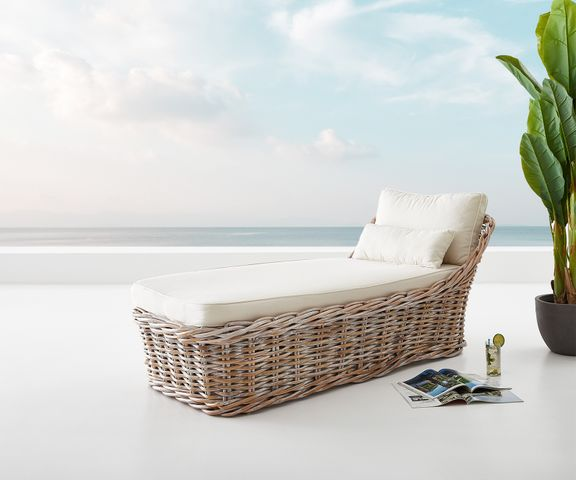 Tuinstoel Florence in White Washed rotan 90x180 cm kussen  1