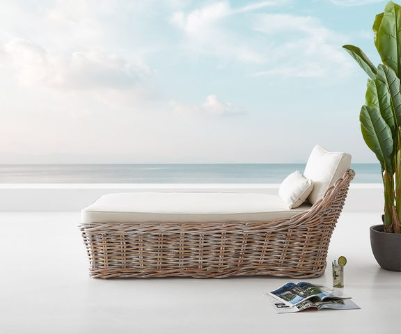 Tuinstoel Florence in White Washed rotan 90x180 cm kussen  2