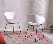 2er-Set-Stuhl Lasca Kunststoff Weiß Schwarzes Metall Gestell [21433]