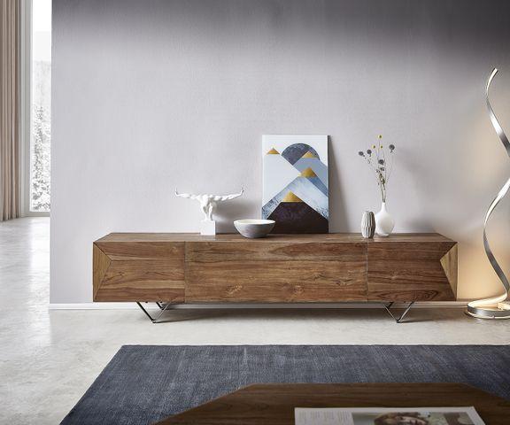 Tv-meubel Wyatt 200x40 cm natuur teakhout 4 compartimenten 2