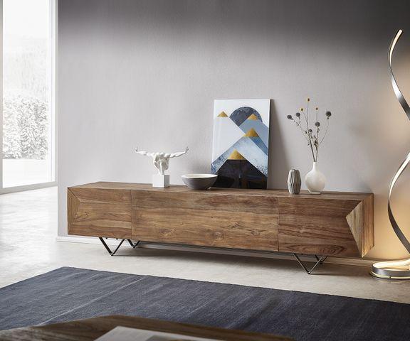 Tv-meubel Wyatt 200x40 cm natuur teakhout 4 compartimenten 1