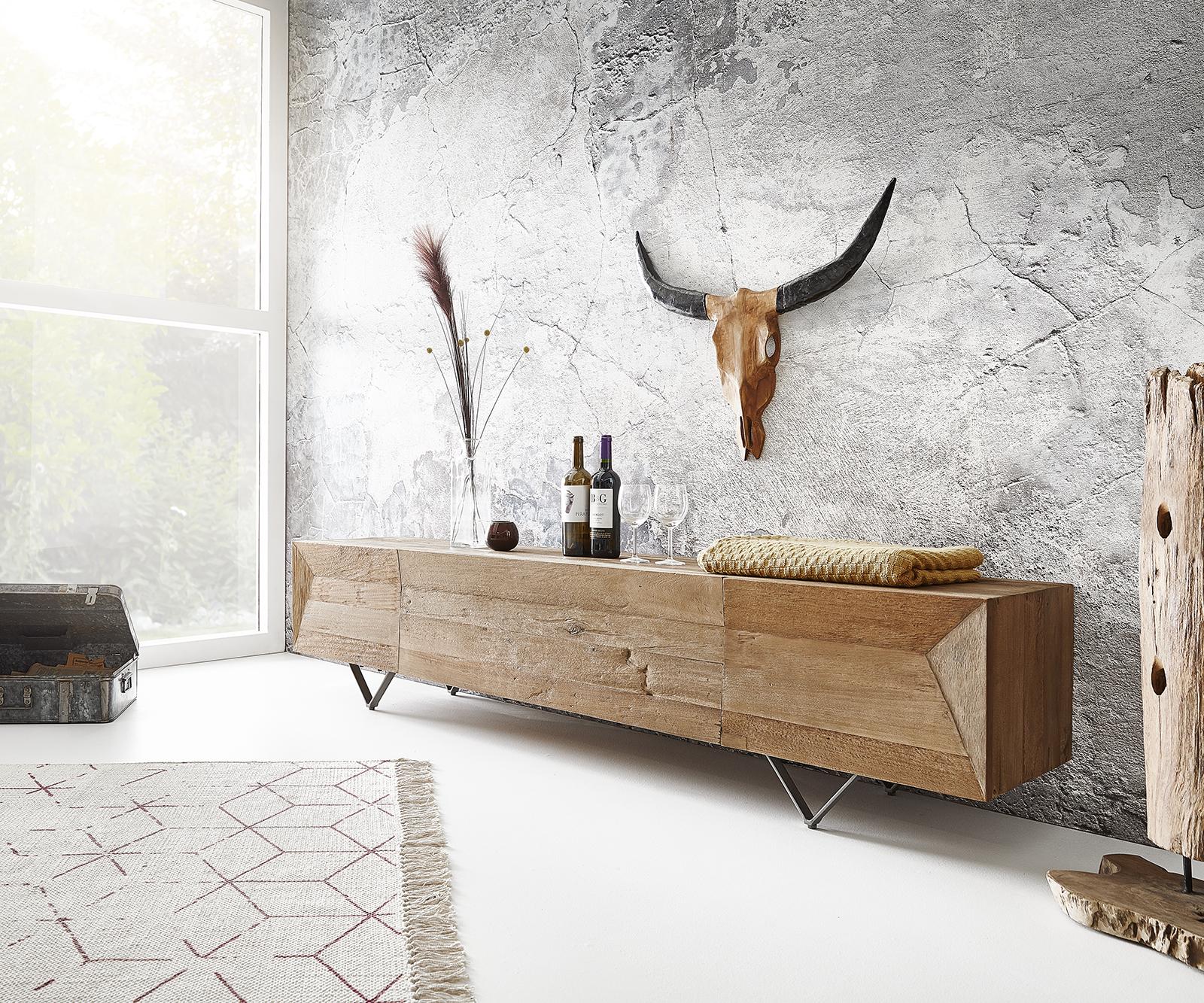 Lowboard Wyatt 200x40 cm Natur Exotic Wood 4 Fächer