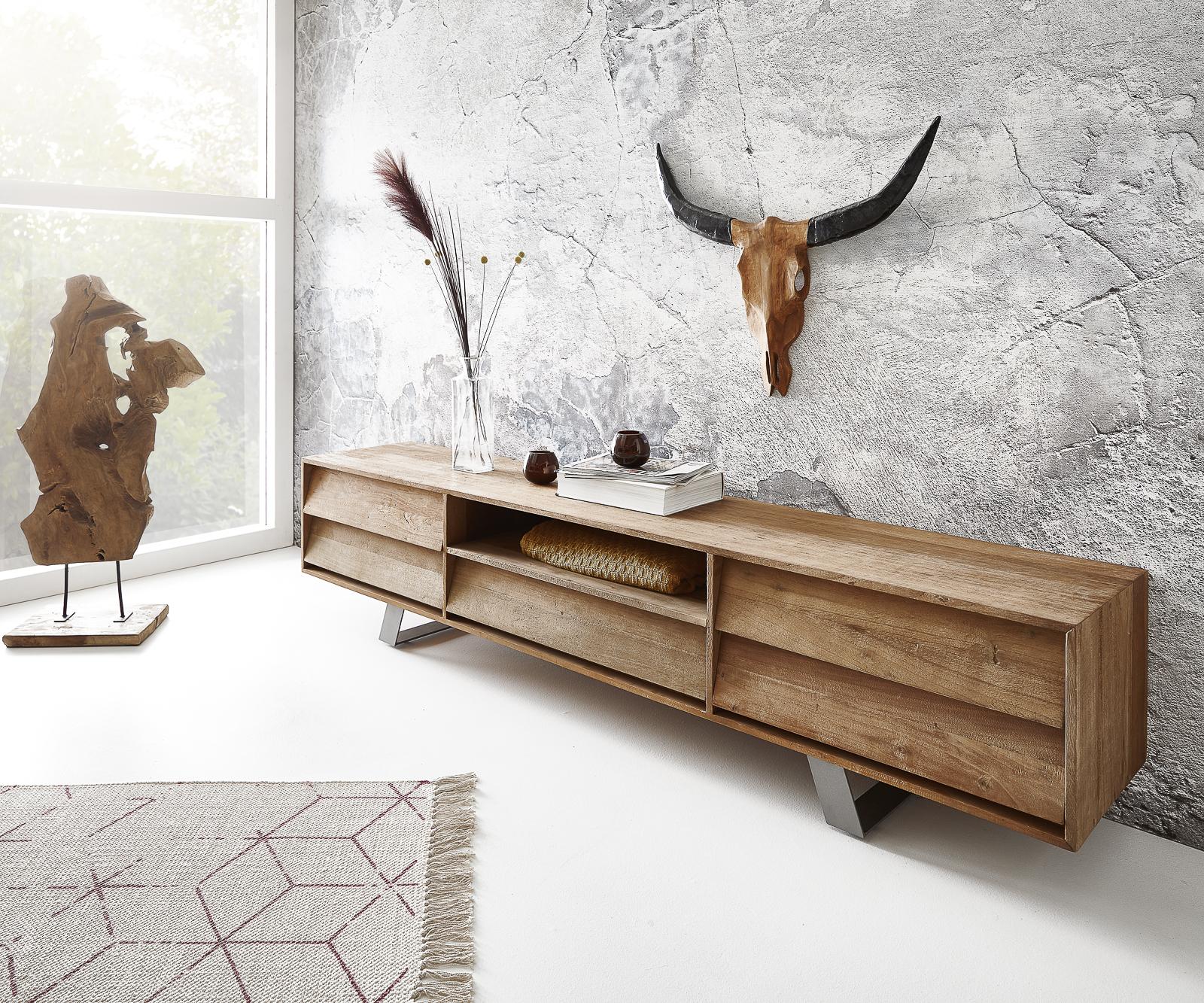 Lowboard Eloi 200x40 cm Natur Exotic Wood 1 Fach 5 Schübe