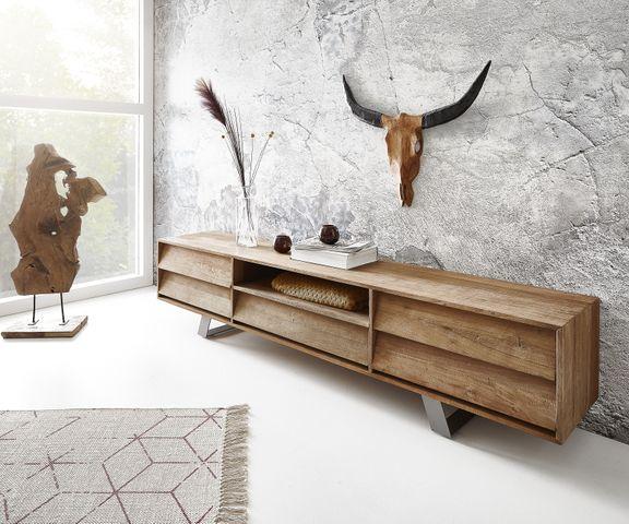 Tv-meubel Eloi 200x40 cm natuur Exotic wood 1 vak 5 schuifladen 2