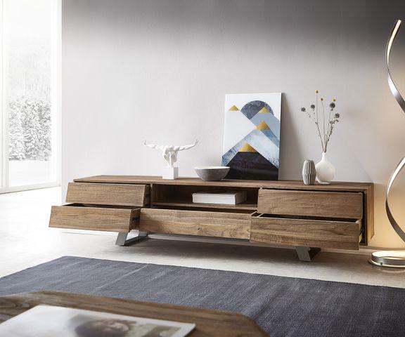 Tv-meubel Eloi 200x40 cm natuurlijk teakhout 1 vak 5 laden 2
