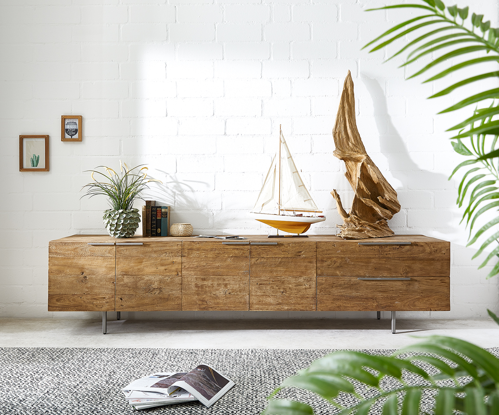 Sideboard Pascale 230x48 cm Exotic Wood 4 Türen 2 Schübe