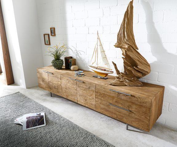 Dressoir Pascale 230x48 cm Exotic wood 4 deuren 2 vakken 2