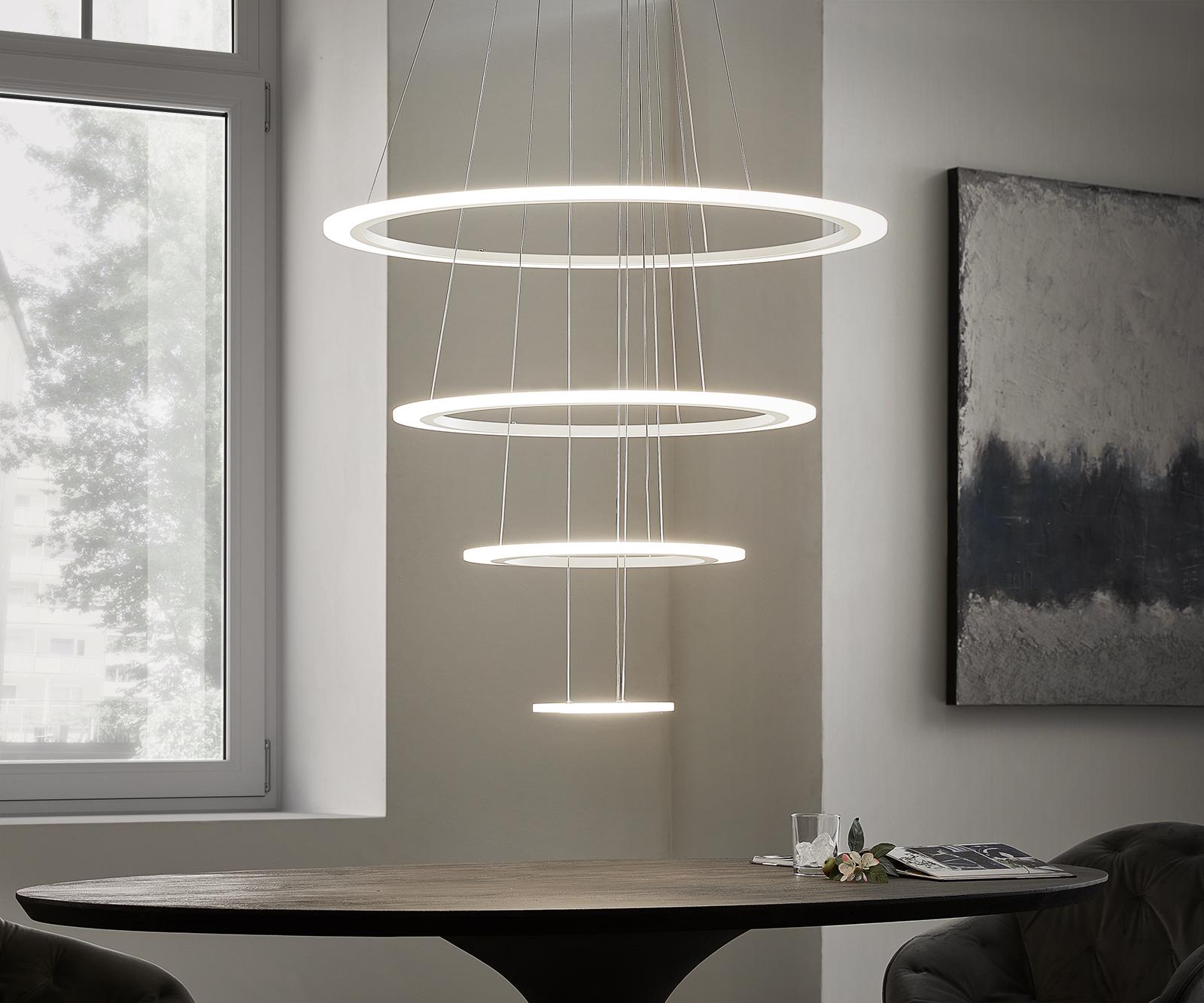 Deckenleuchte Tondo weiss D80x150 cm LED 4 Ringe Designlampe