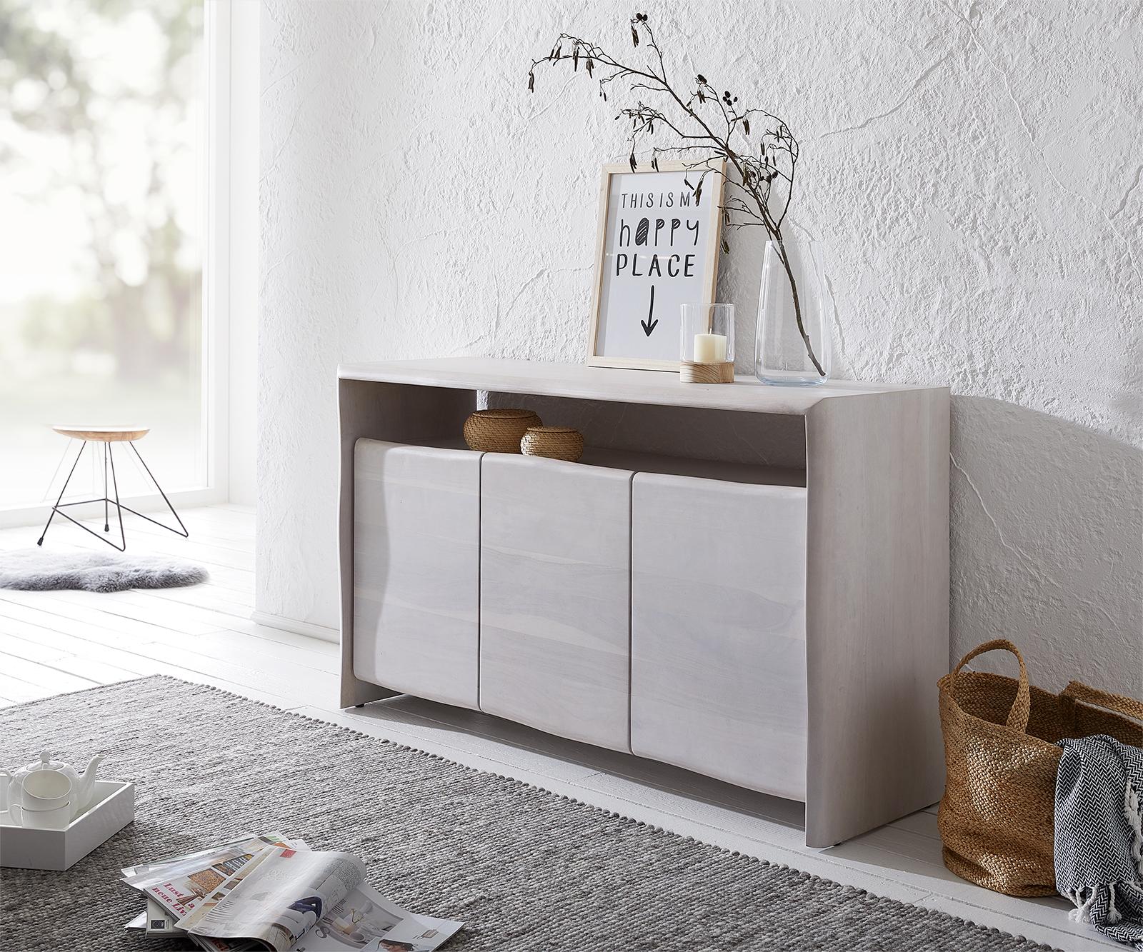 Sideboard Live-Edge Akazie White Washed 147 cm  Massiv 3 Türen Kommode