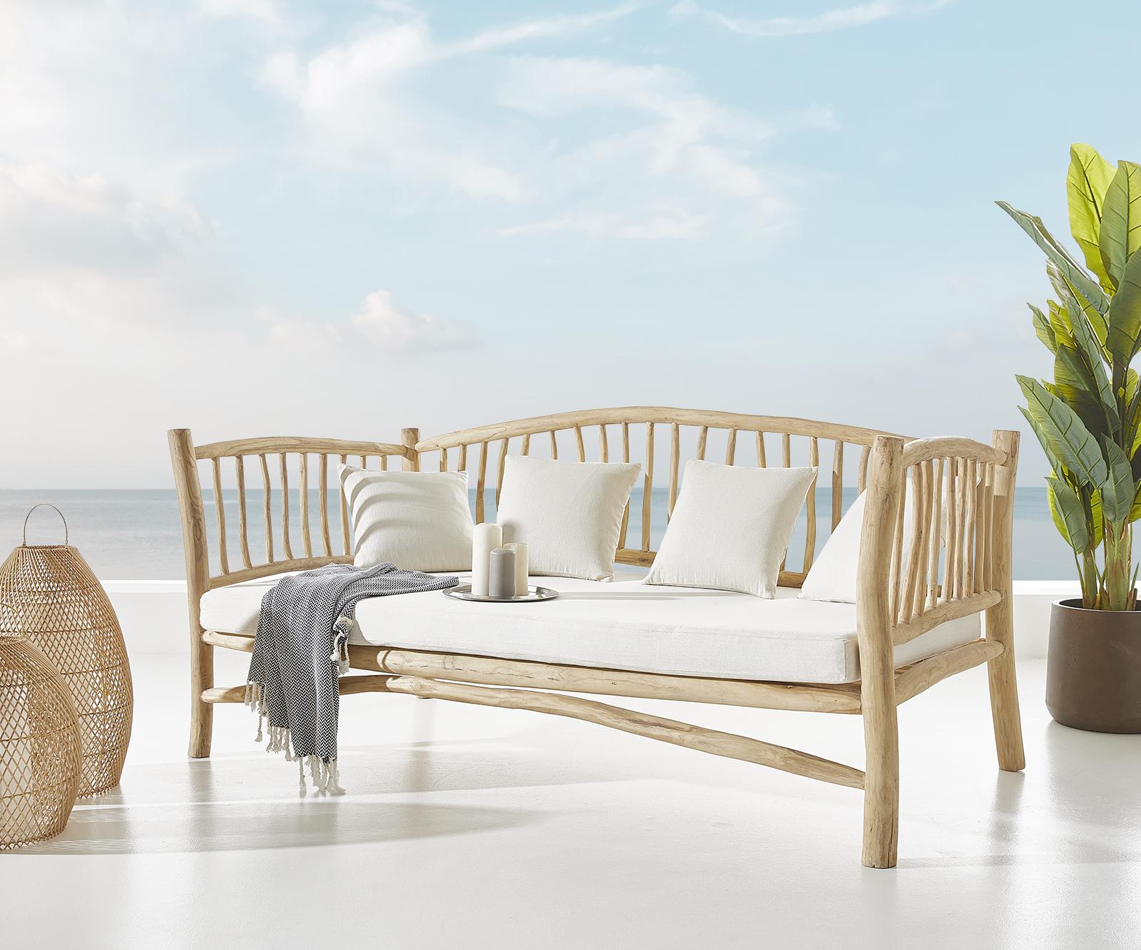 Outdoorsofa Melania 212x103 cm Teak Natur mit Kissen weiß