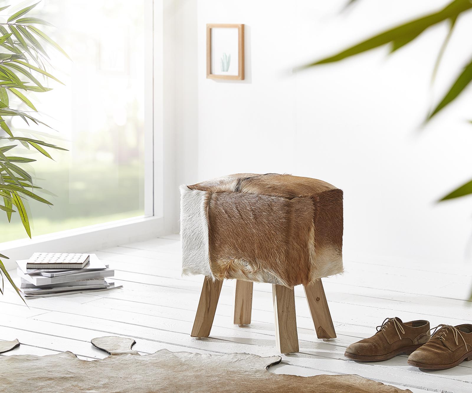 Sitzhocker Koza 40x30 cm Braun Ziegenfell Teakholz