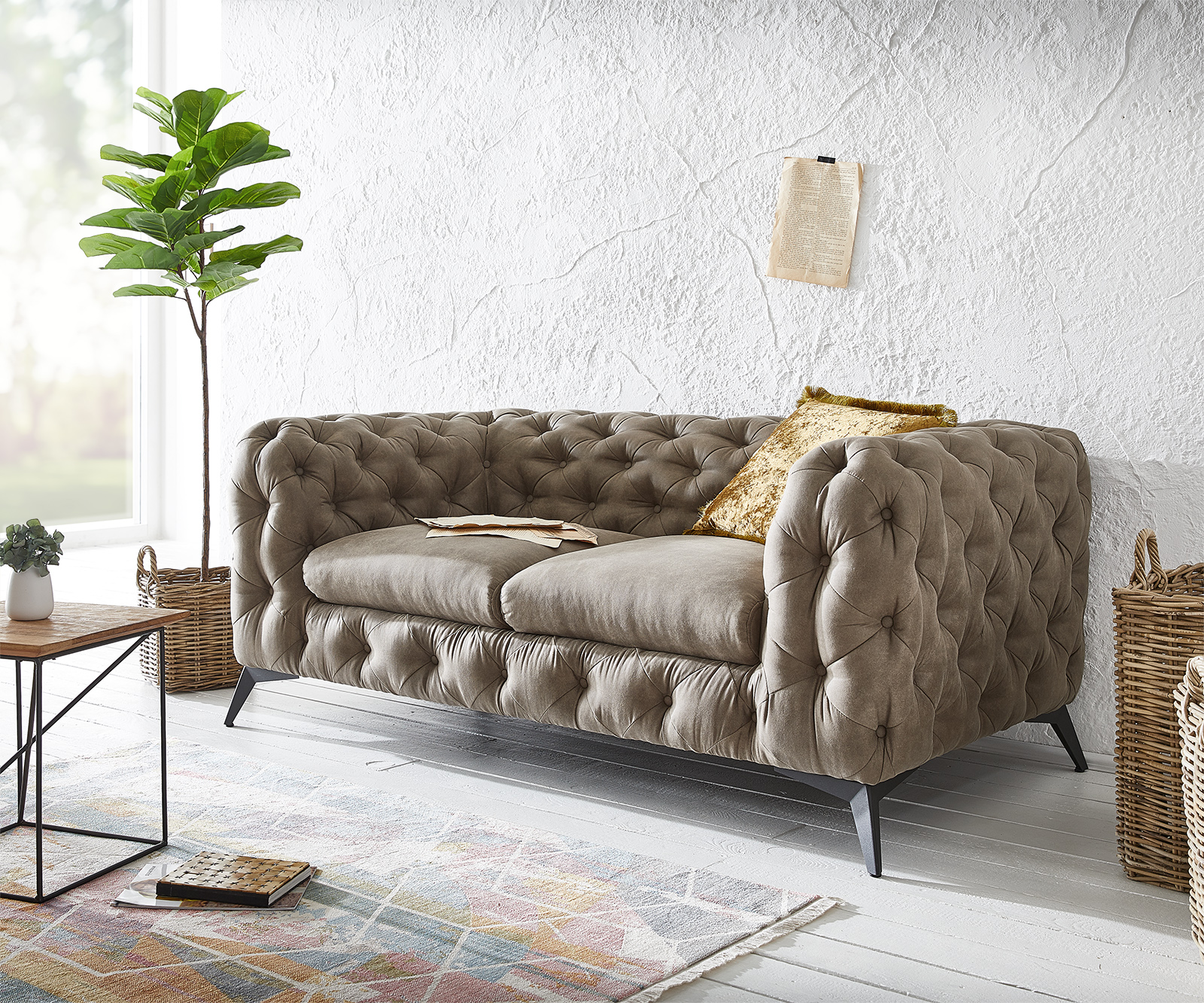 Couch Corleone 2-Sitzer Taupe Vintage