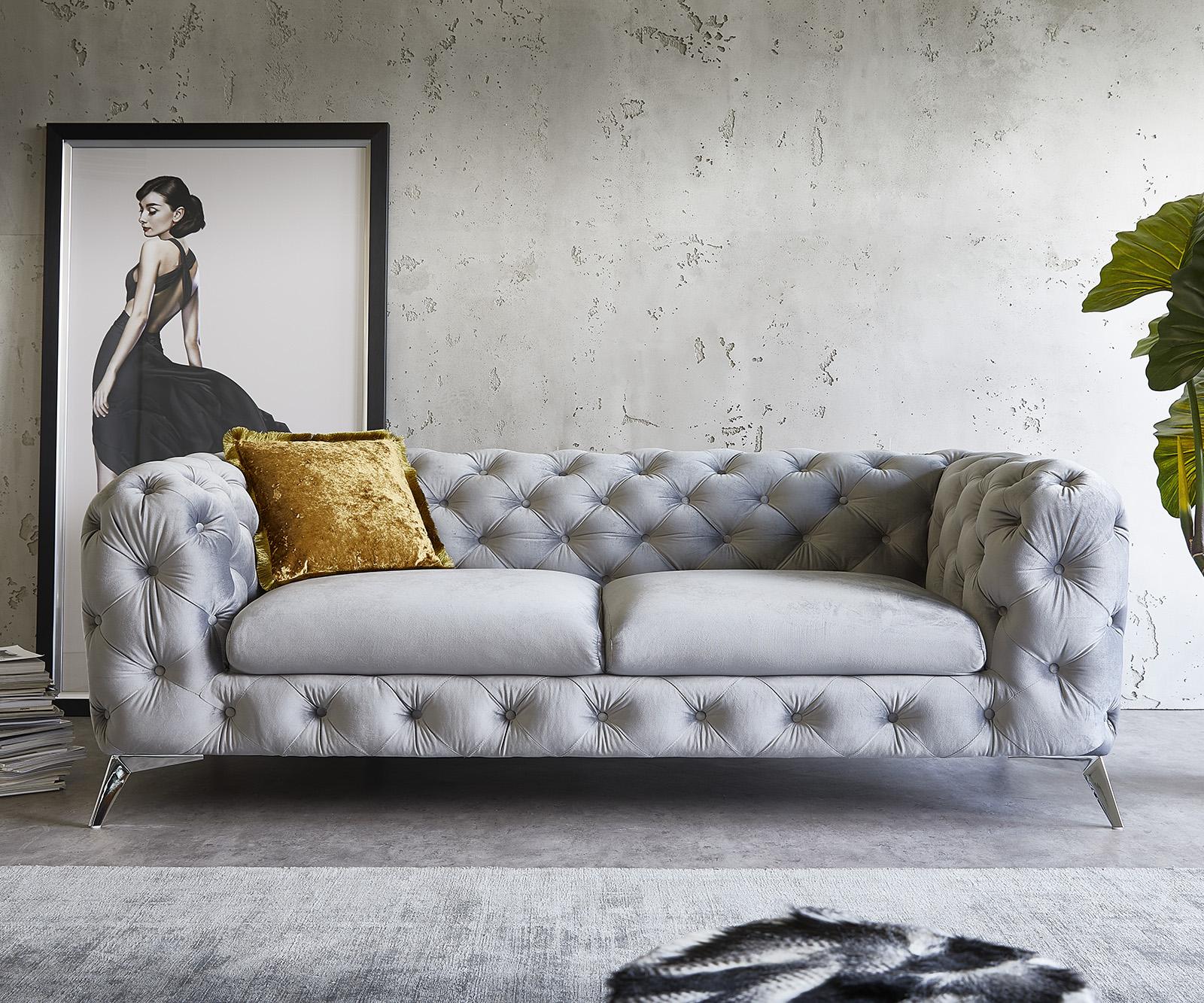Couch Corleone 3-Sitzer Grau Samt