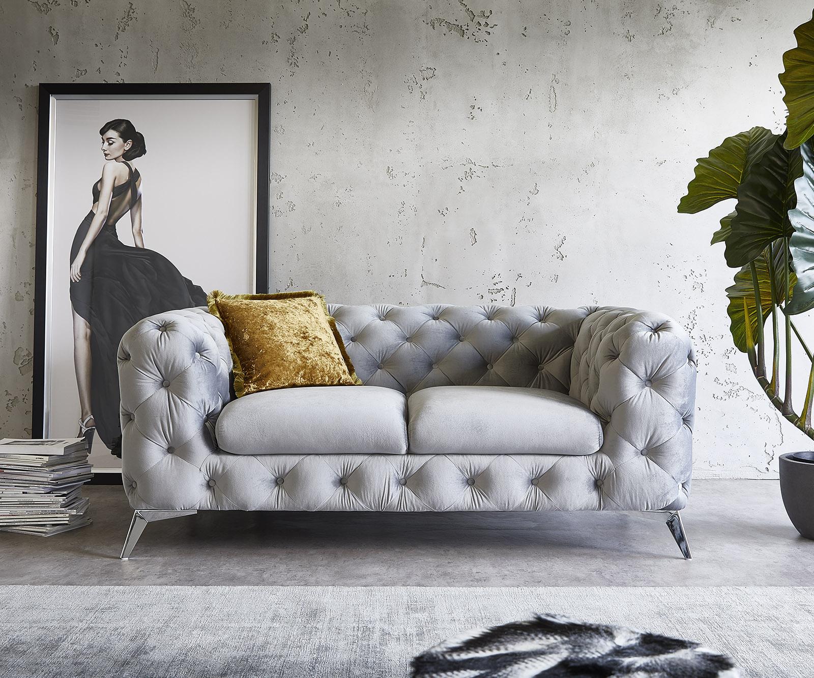 Couch Corleone  185x97 cm Grau Samt Chrome 2-Sitzer Sofa