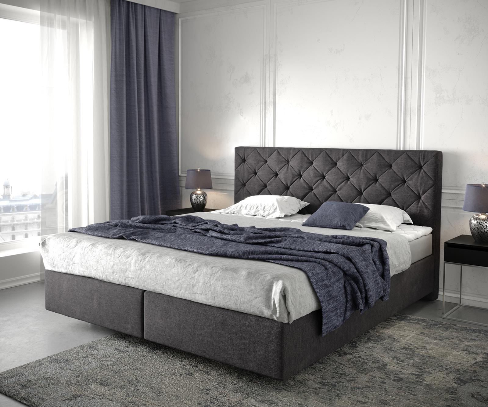 Boxspringbett Dream-Great 180x200 cm Schwarz mit Matratze und Topper