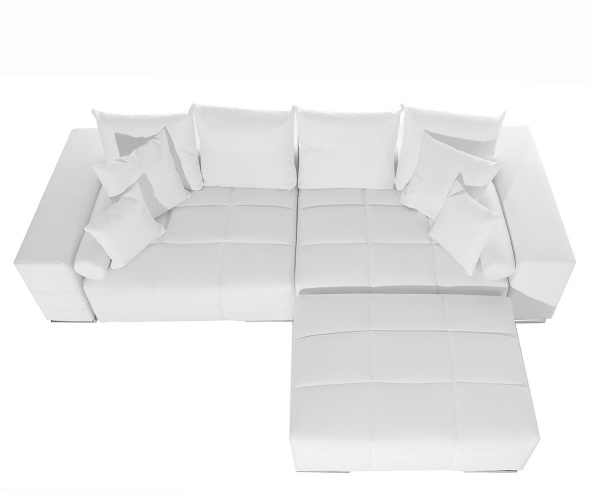 couch marbeya weiss 285x115 cm inklusive hocker und kissen big sofa by delife ebay. Black Bedroom Furniture Sets. Home Design Ideas