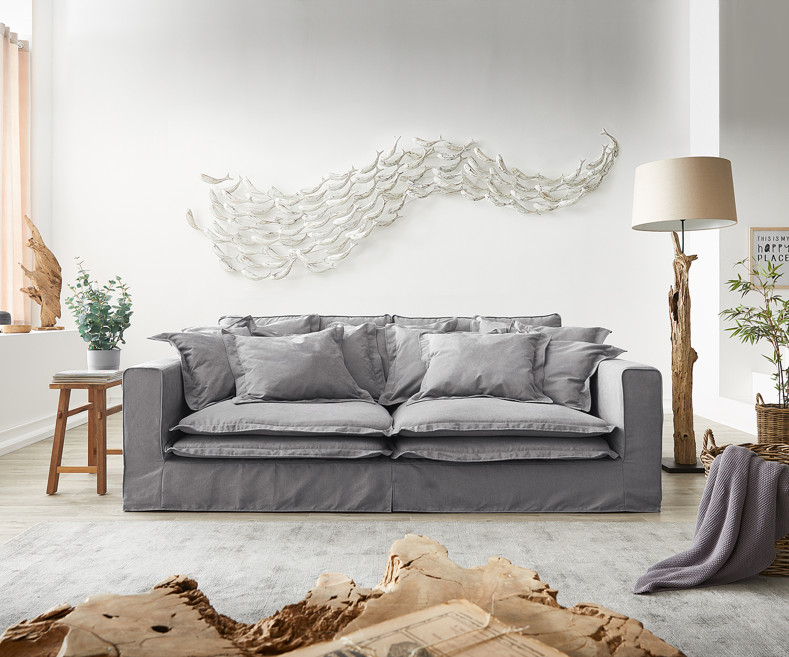 Hussensofa Noelia 240x140 cm Grau mit Kissen Bigsofa