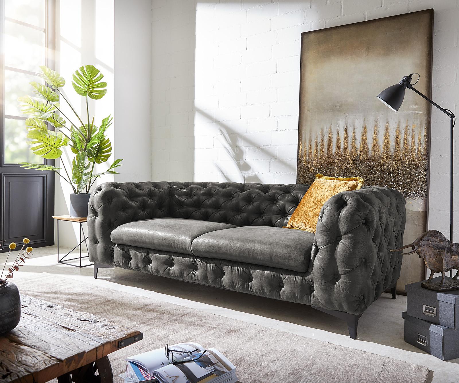 Couch Corleone 225x97 Anthrazit Vintage 3-Sitzer Sofa