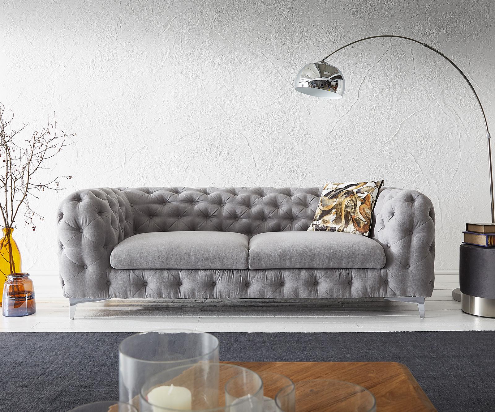 Couch Corleone 225x97x76 Grau 3-Sitzer Sofa