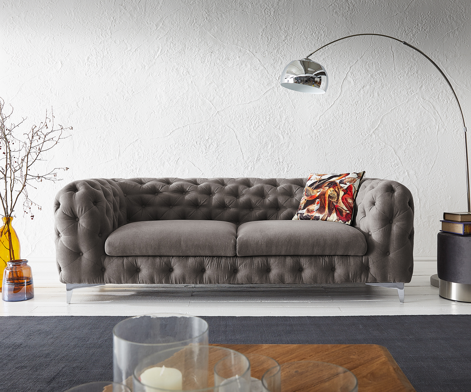 Couch Corleone 225x97 cm Khakibraun 3-Sitzer Sofa