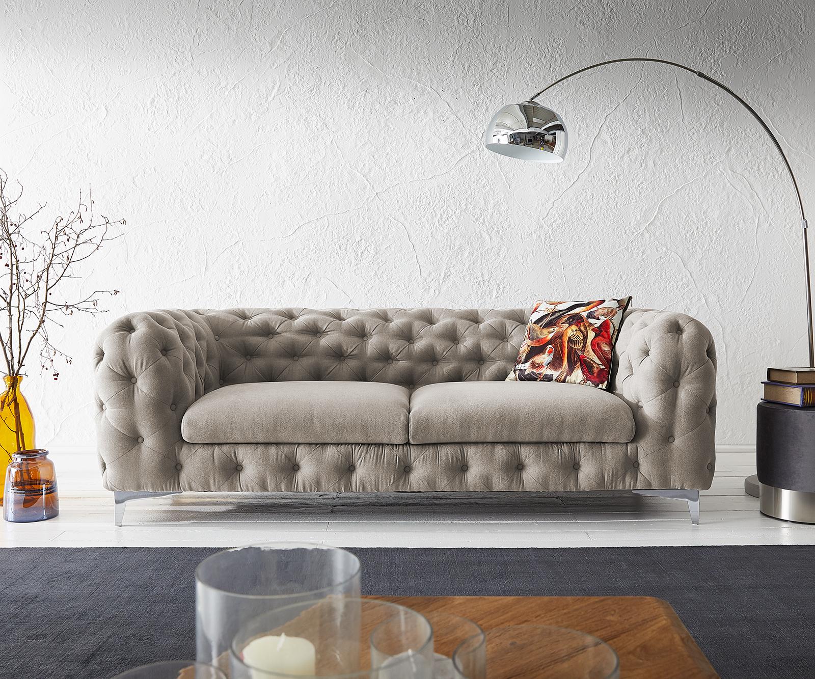 Couch Corleone 225x97 cm Beige 3-Sitzer Sofa