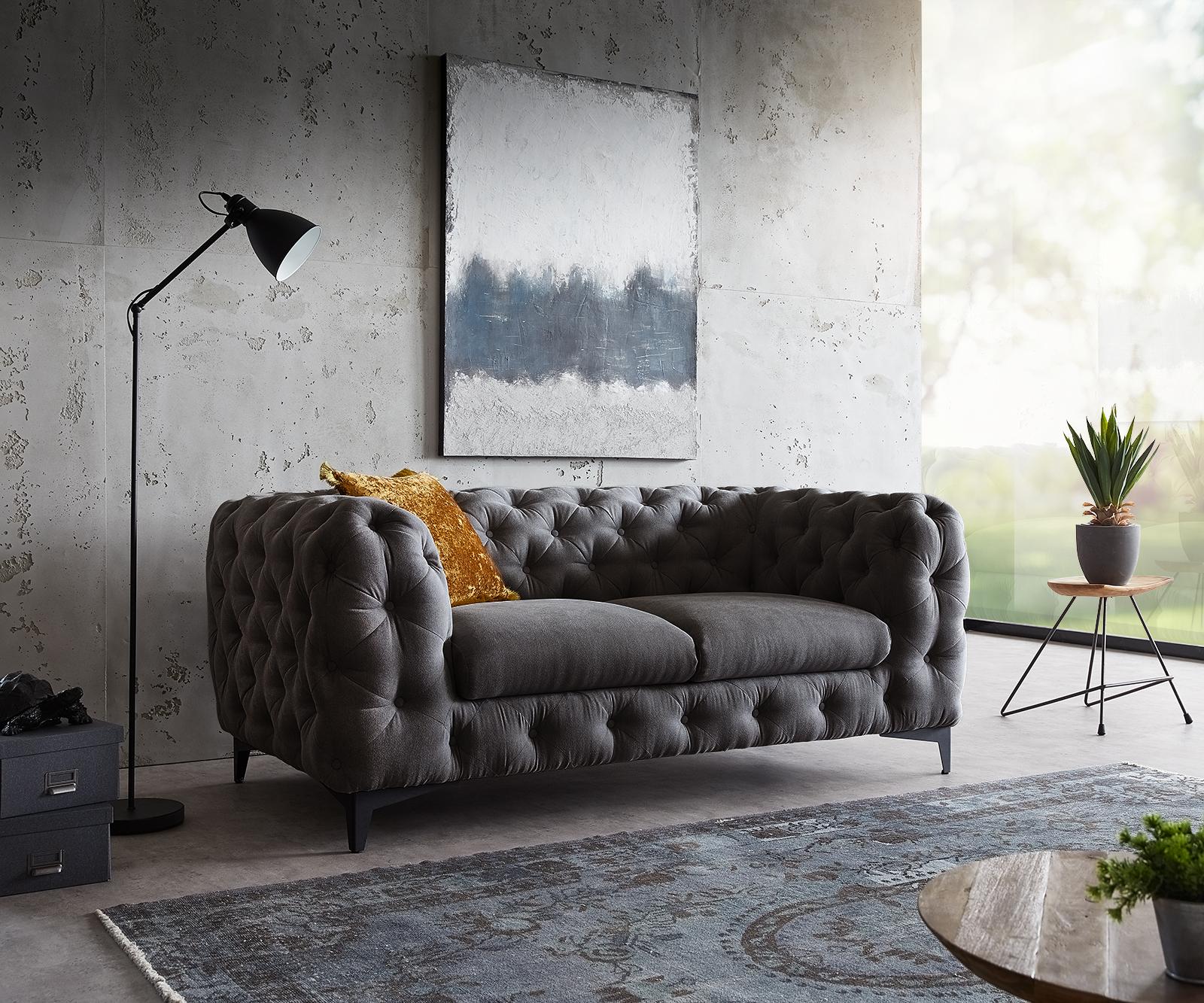Couch Corleone 185x97 cm Schwarz 2-Sitzer Sofa