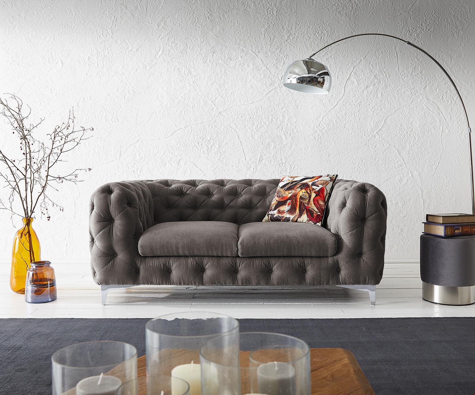 Couch Corleone 185x97 cm Khakibraun 2-Sitzer Sofa
