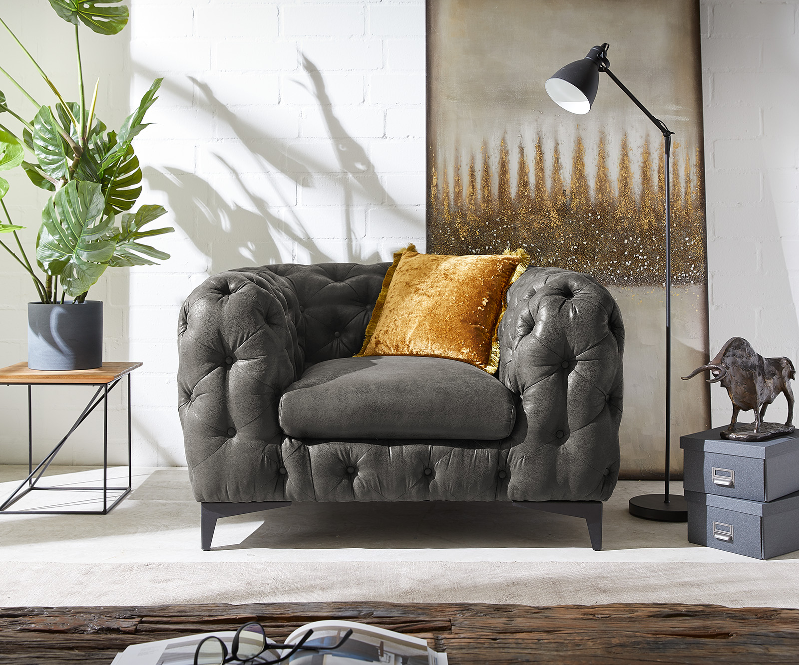 Clubsessel Corleone 120x97 cm Anthrazit Vintage Loungesessel