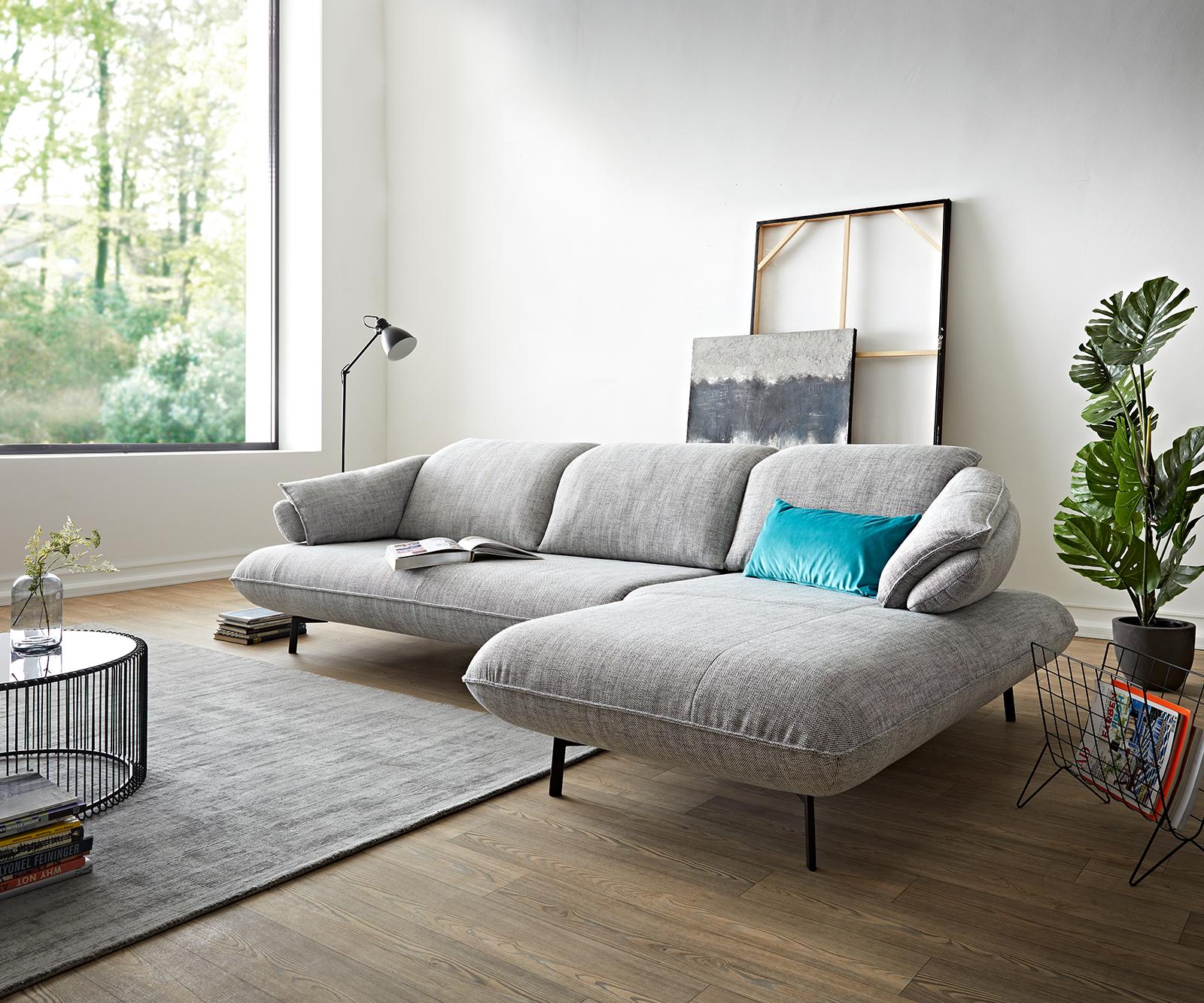 Ecksofa Bluebell 300x190 Steingrau Longchair rechts Sitztiefenverstellung by ES brand
