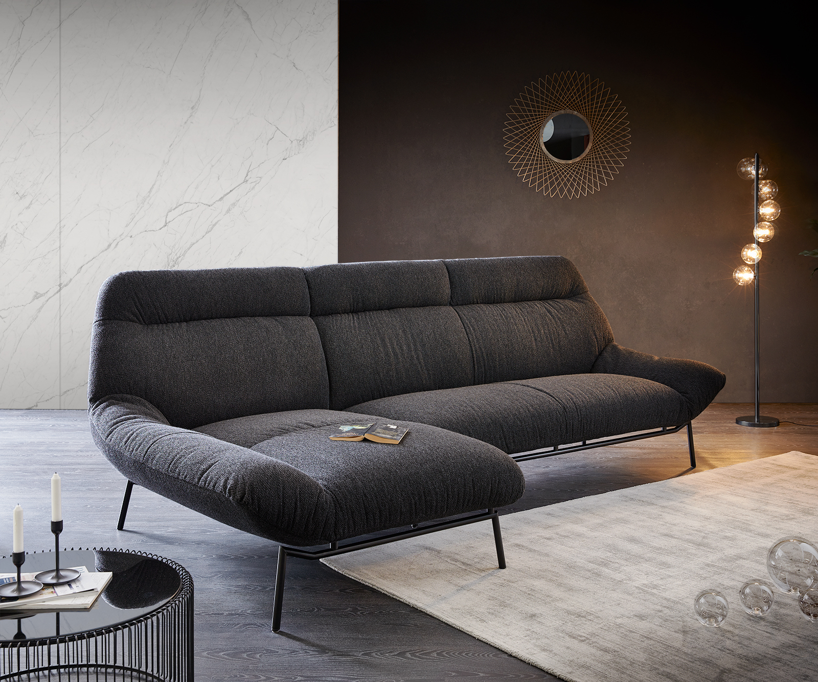 Ecksofa Shape High 305x160 Schwarz Longchair links by ES brand