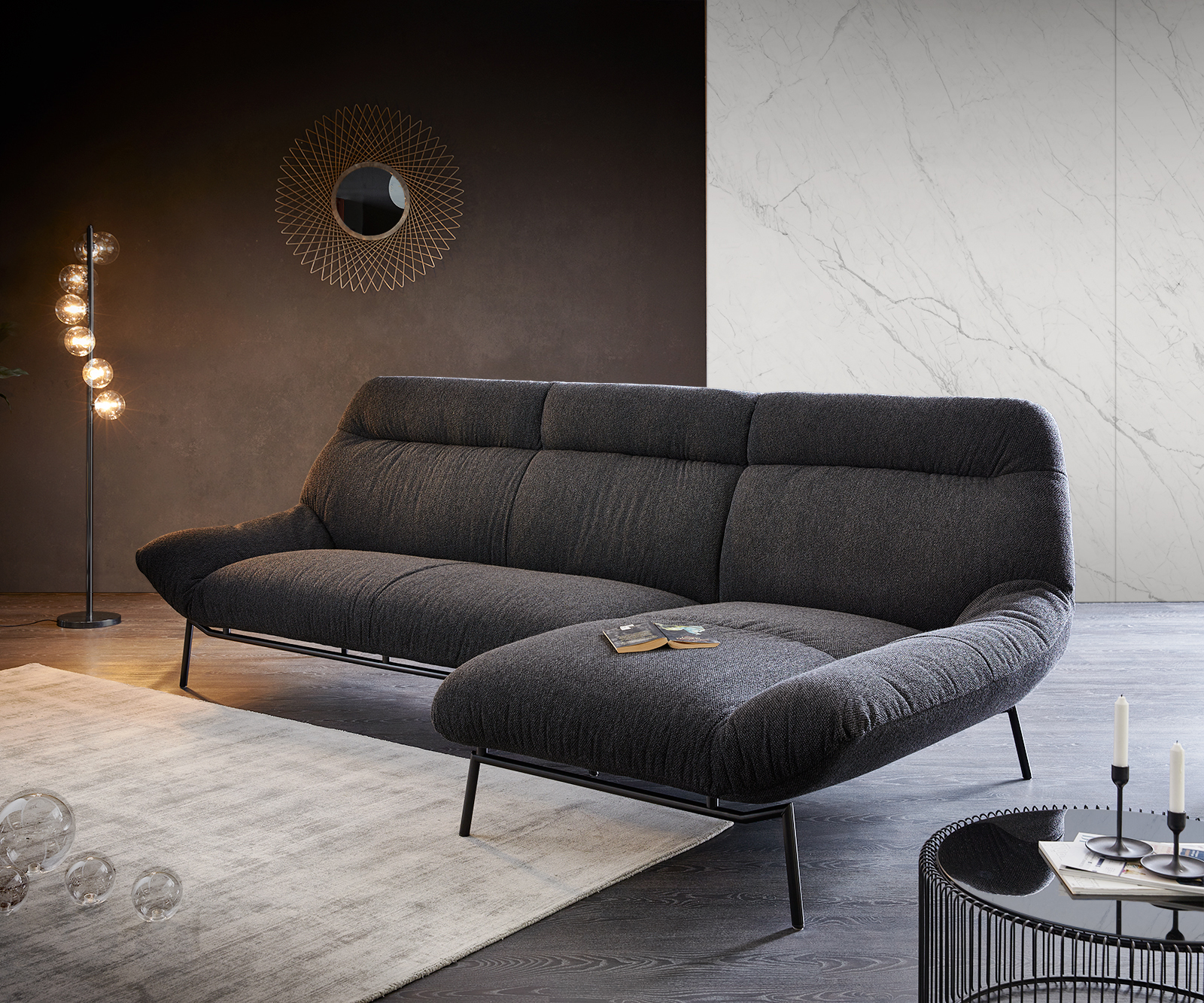 Ecksofa Shape High 305x160 Schwarz Longchair rechts by ES brand