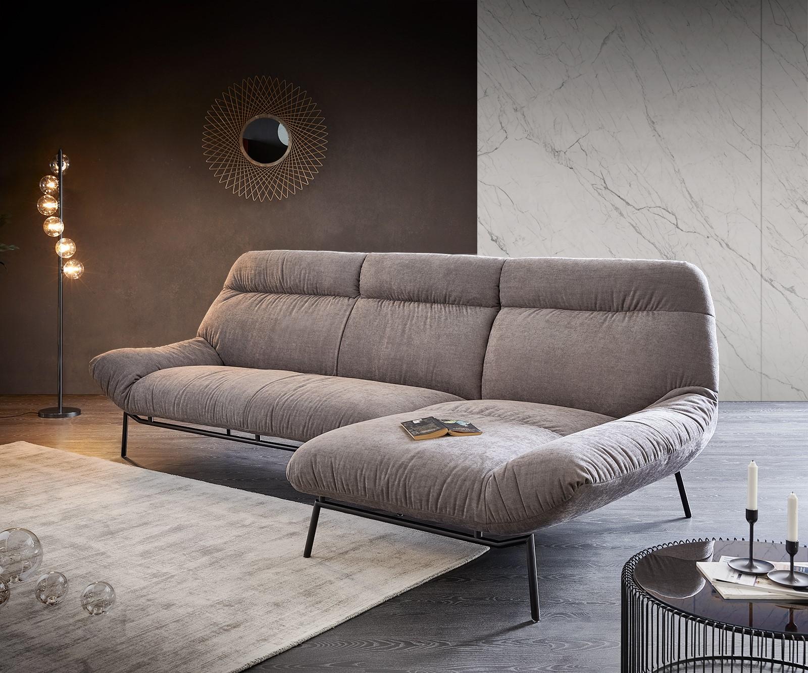 Ecksofa Shape High 305x160 Steingrau Longchair rechts by ES brand