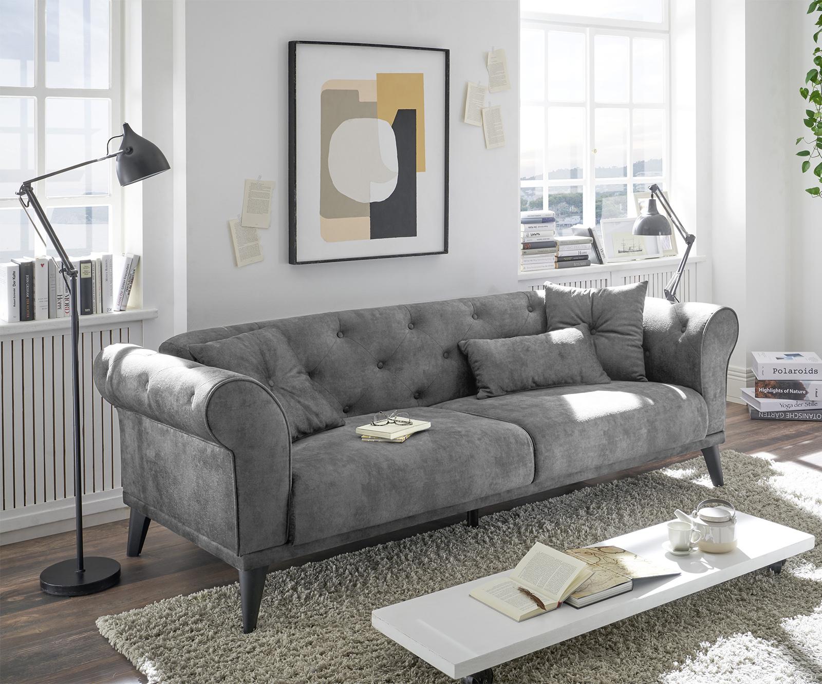 Schlafsofa Carey 237x95 cm Grau 3-Sitzer
