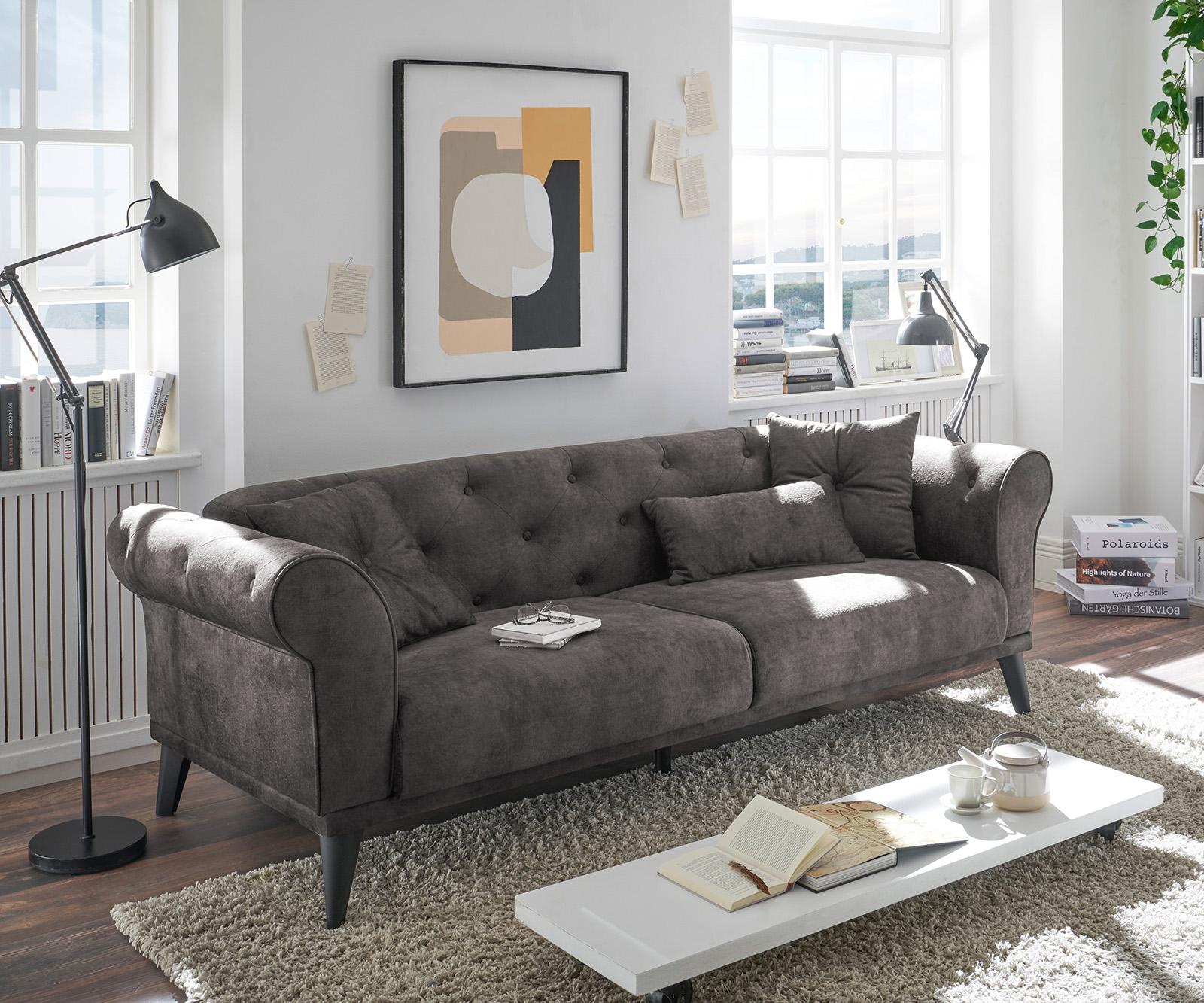 Schlafsofa Carey 237x95 cm Graphite 3-Sitzer