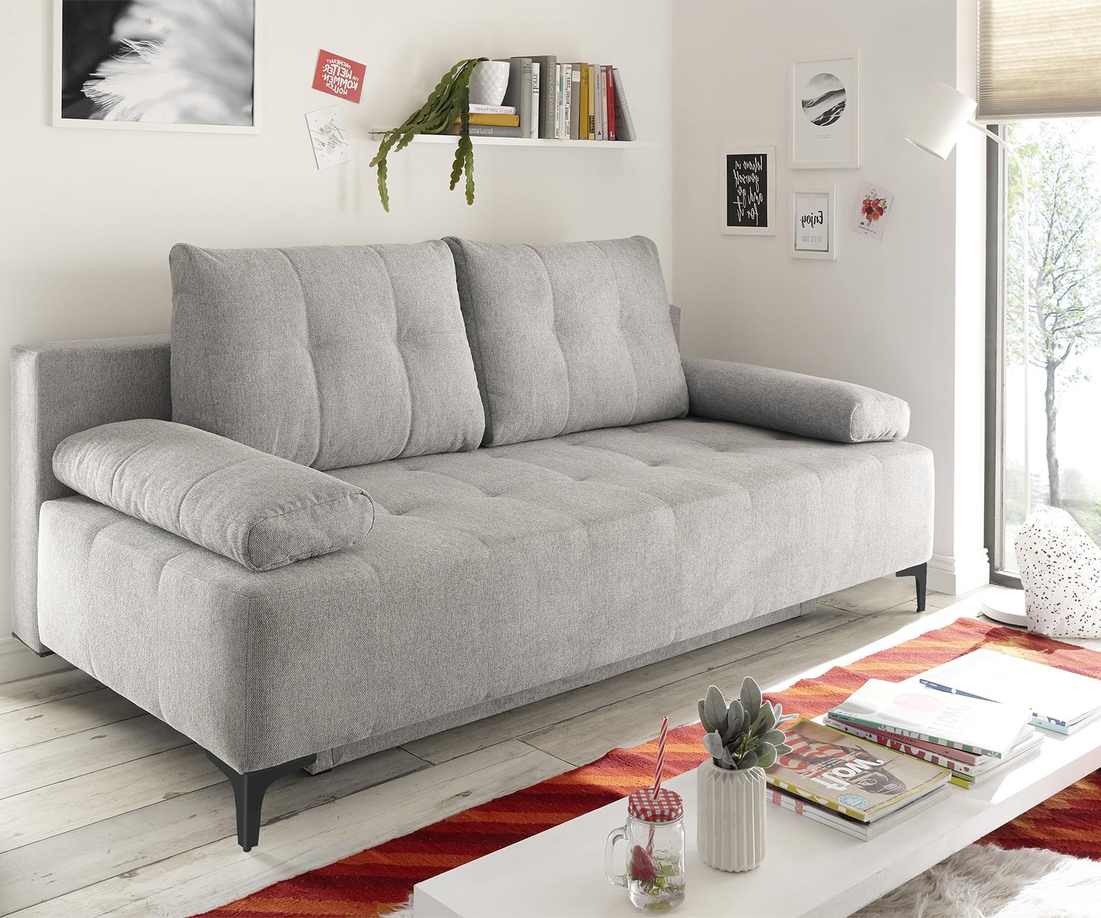 Schlafsofa Maiko 203x107 cm Silbergrau 3-Sitzer Bettkasten