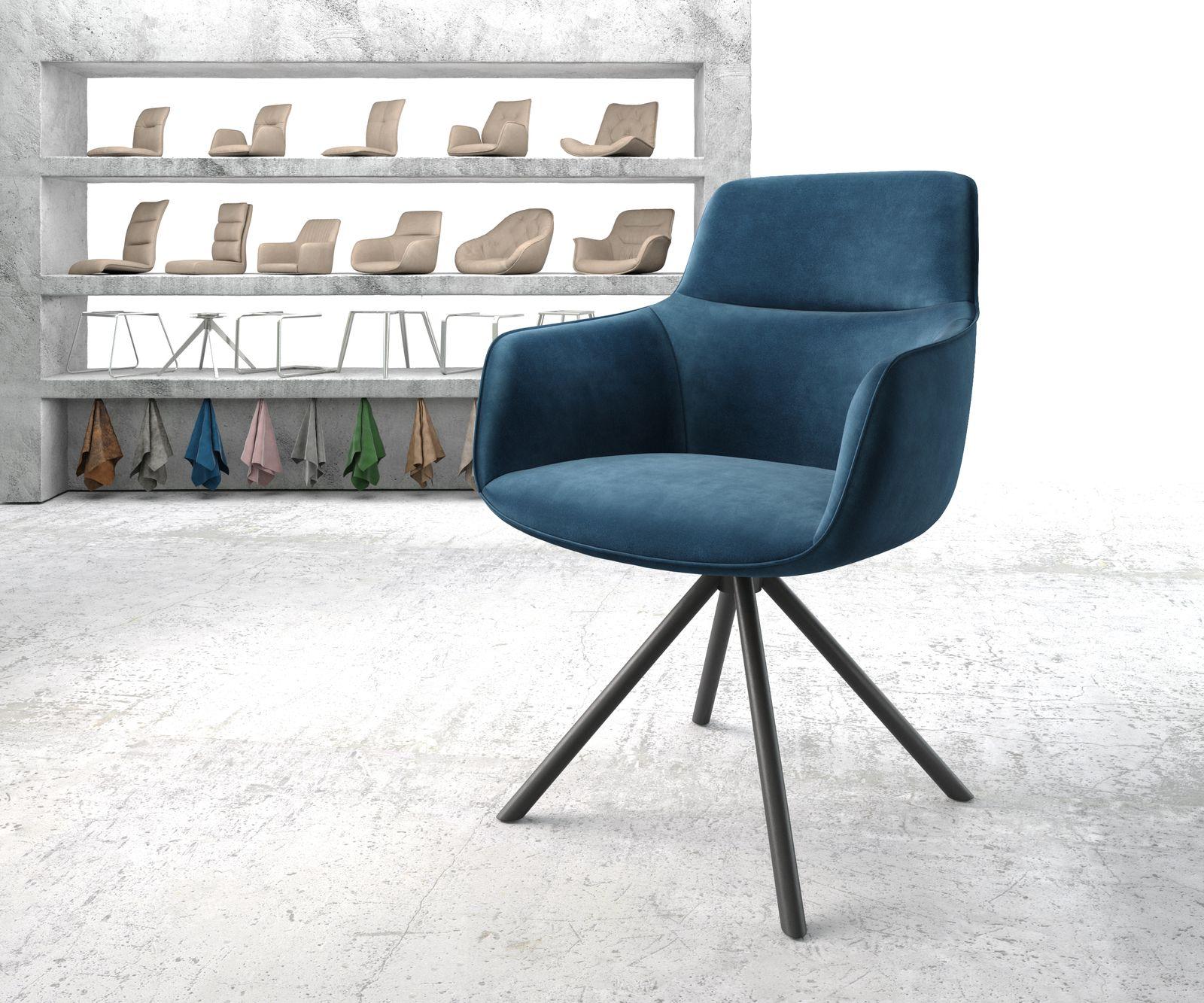 Drehstuhl Pejo-Flex Blau Samt Kreuzgestell rund schwarz
