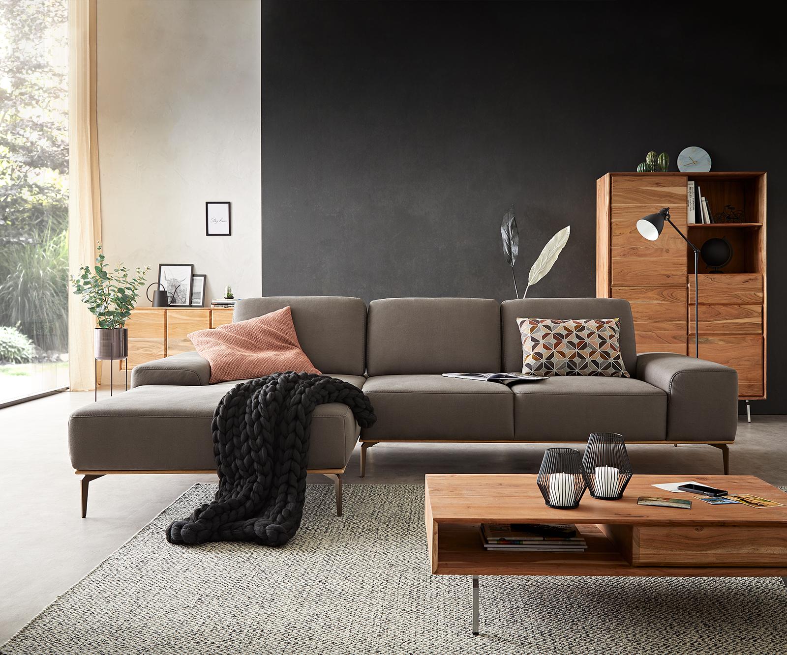 Ecksofa Run 300x180 cm Steingrau Longchair links Sitztiefenverstellung by W. Schillig