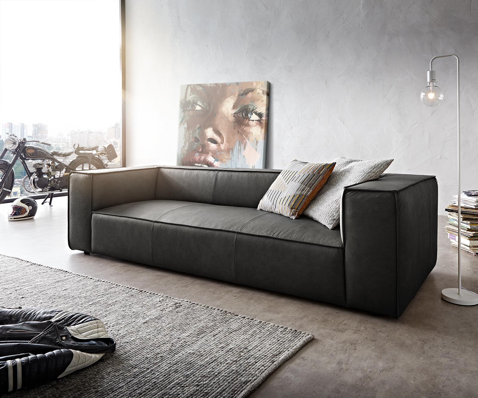 Bigsofa Around the Block 260x105 Anthrazit Echtleder Federkern by W. Schillig