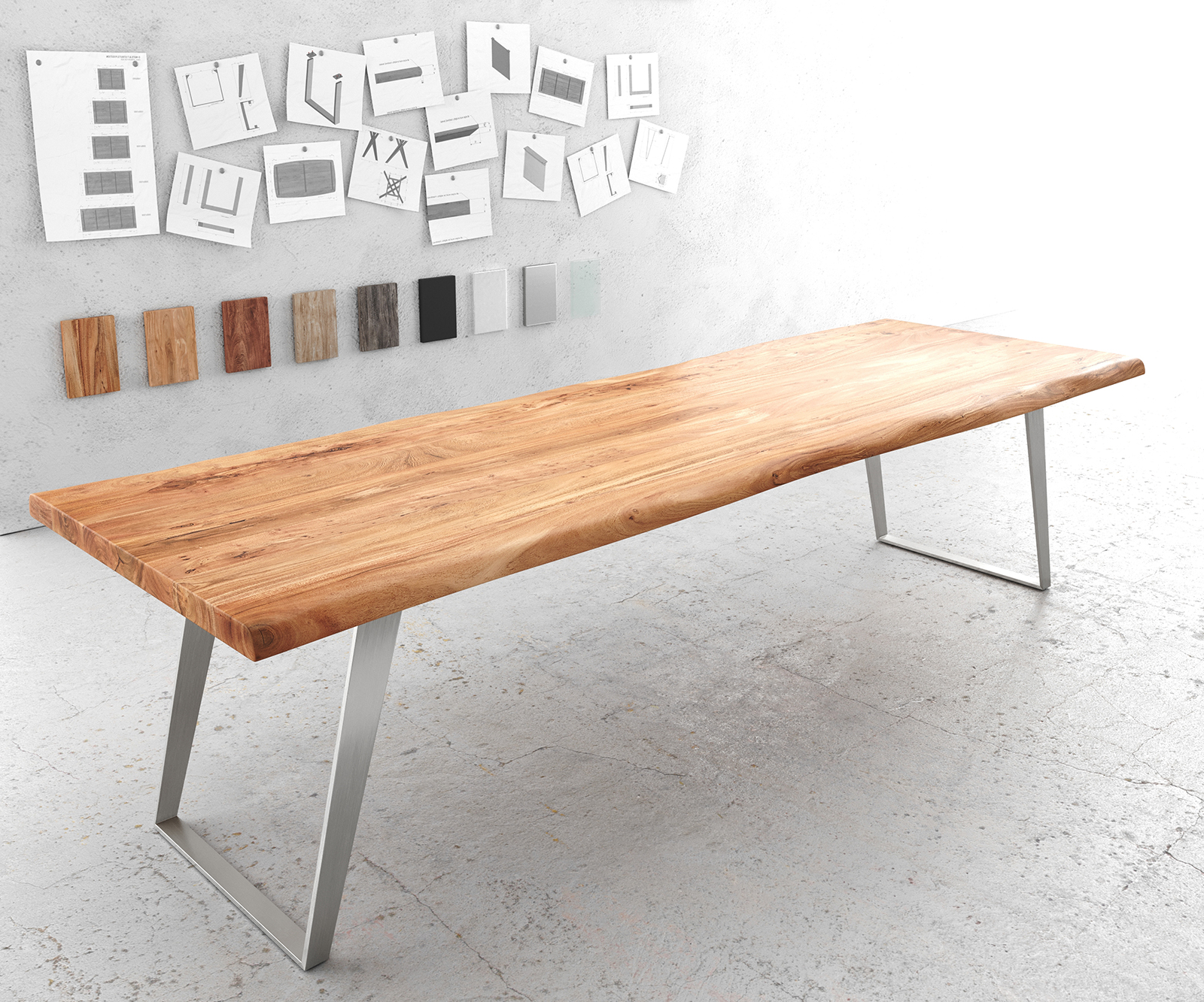 Esstisch Edge 300x100cm XL Akazie Natur Edelstahl Silber schräg Live-Edge