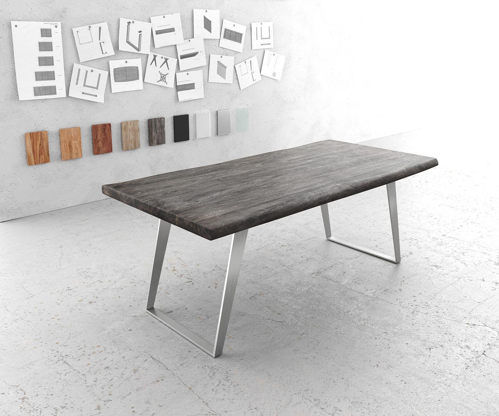 Esstisch Edge 200x100cm XL Akazie Platin Edelstahl Silber schräg Live-Edge