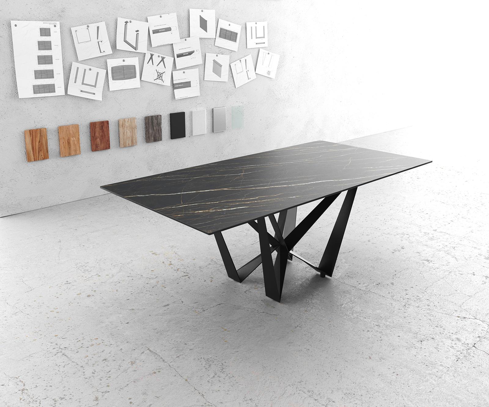 Esstisch Edge 200x100cm Laminam® Keramik Braun Mittelfuß Flachstahl Schwarz