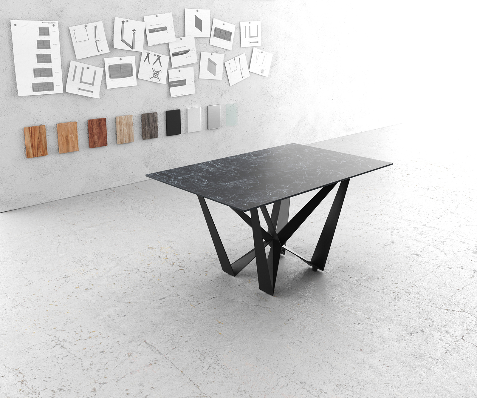 Esstisch Edge 140x90cm Laminam® Keramik Grau Mittelfuß Flachstahl Schwarz